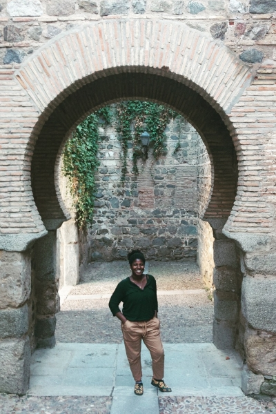 Toledo in front of a keyhole arch
